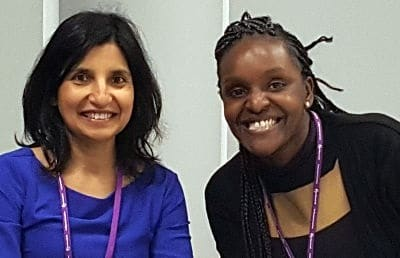 Neerja Jain (left), Health Equalities Manager, and Fiona Onasanya MP (right)