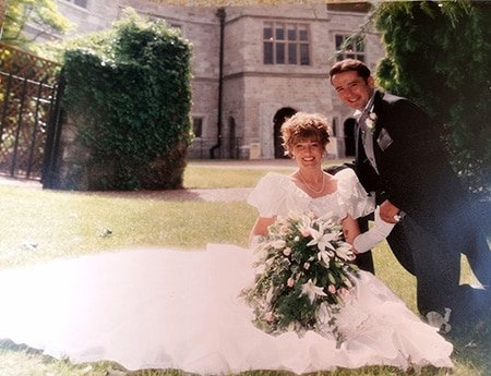 Nicky and Antony on their wedding day. Few people knew that under her dress she had dialysis tubes in her stomach