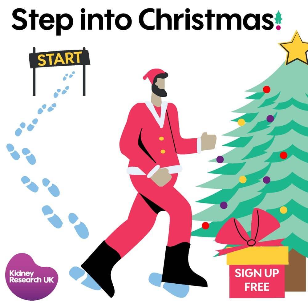 Step into Christmas with logo