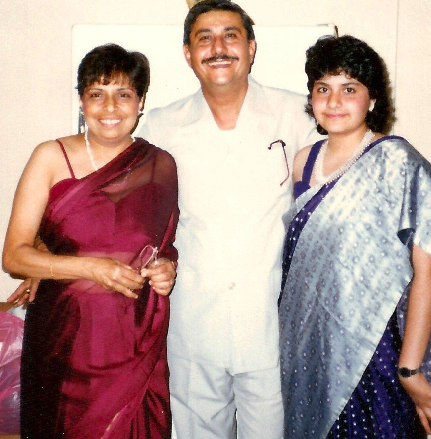 Nina Wadia with her mum Homai and dad Minoo in