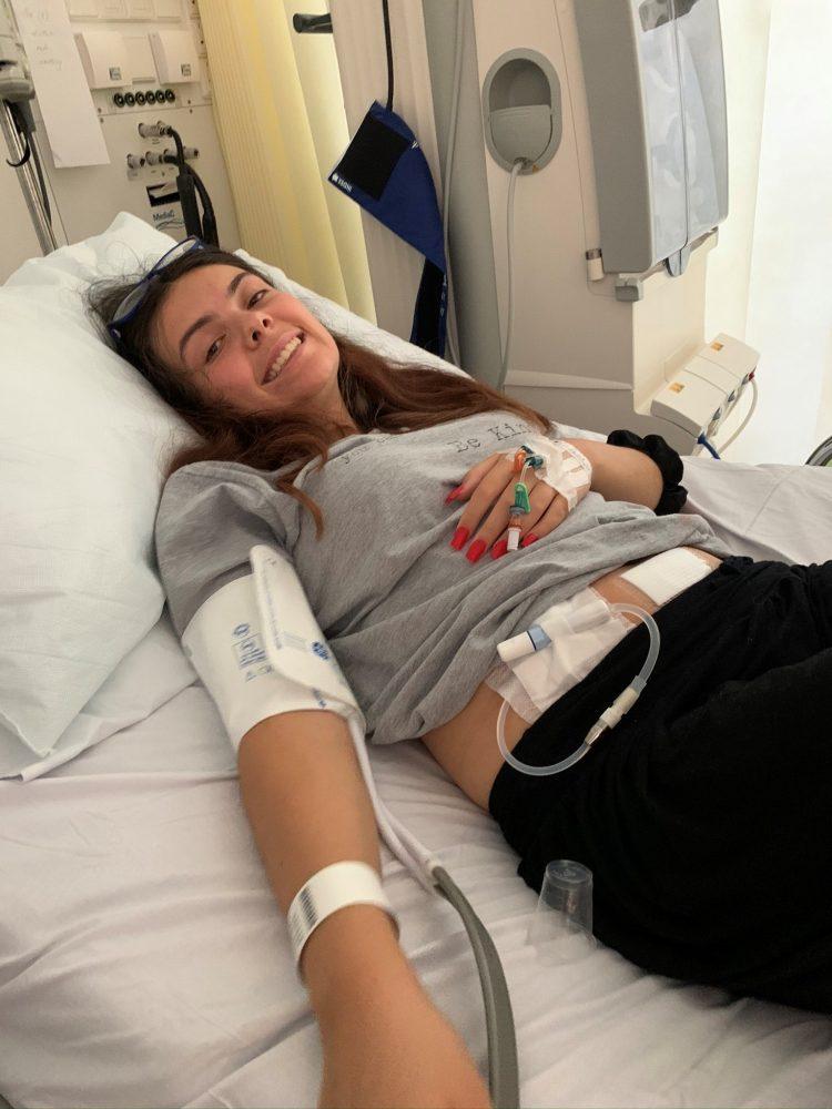 Sasha Bellamy on dialysis in hospital bed