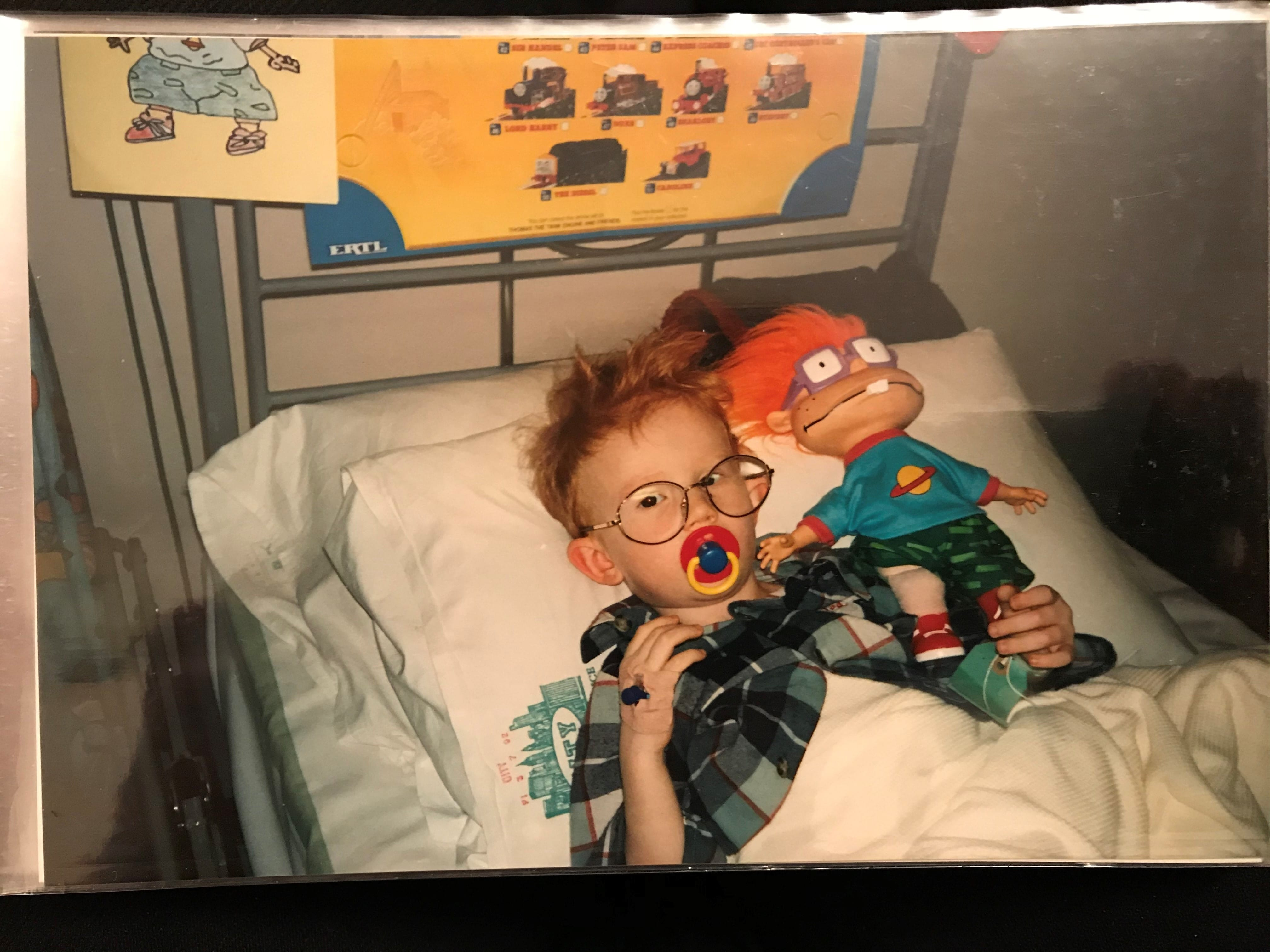 Jack Denby in hospital as a child