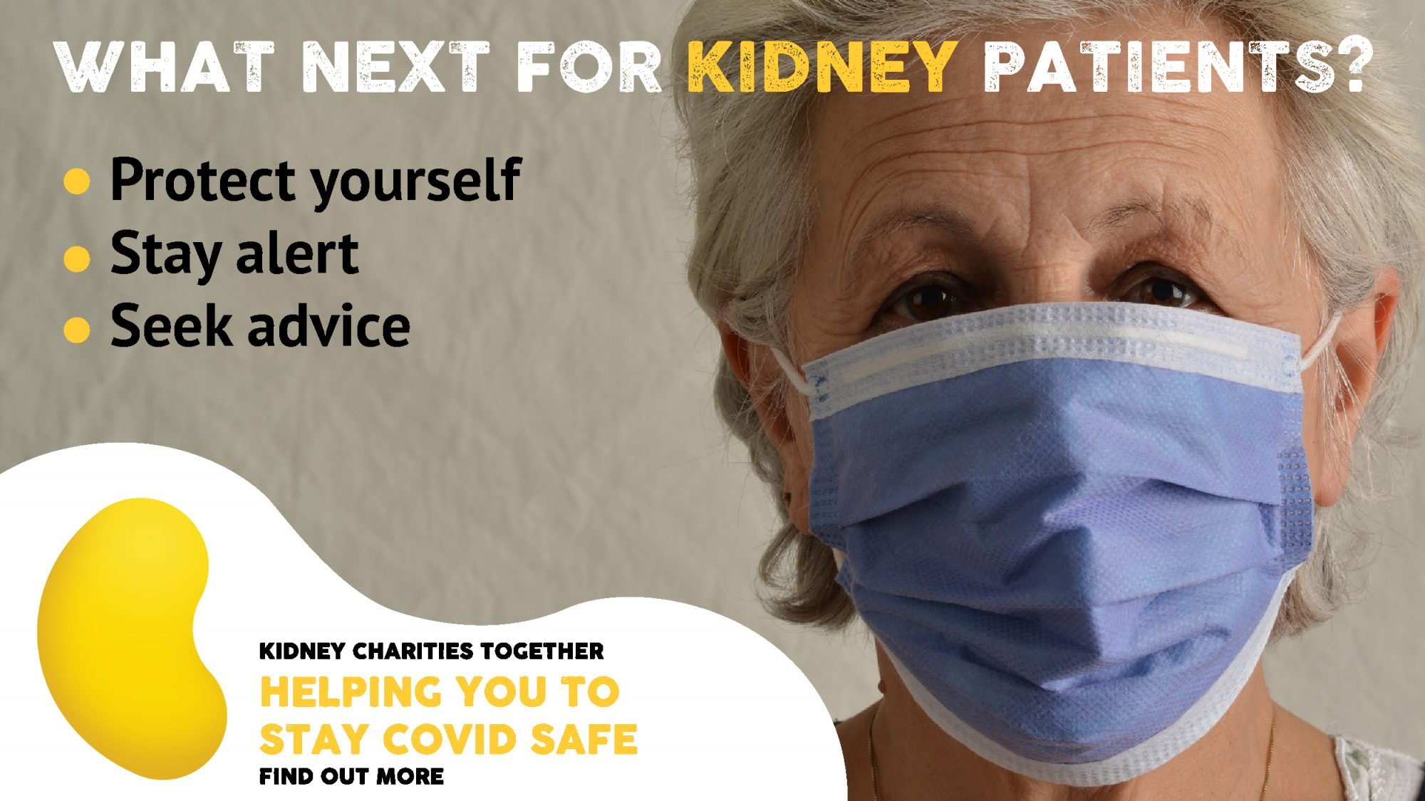 Older lady wearing face mask with advice printed to protect ourself from covid-19