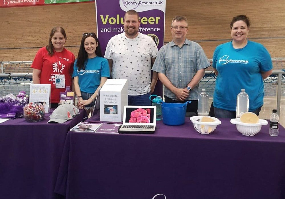 With volunteer Holly and researchers, Carl and Gavin, at Kidney Research UK's stand