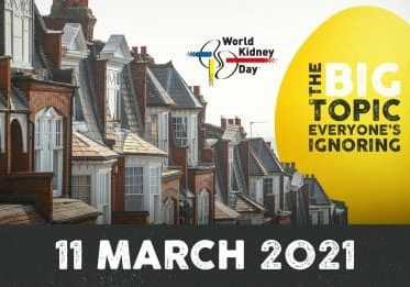 A street of house with a giant yellow kidney