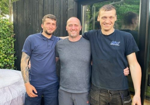 Luke Horne with Dad Michale Horne and friend Liam Ross Campbell