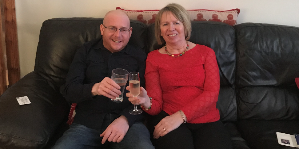 Neil Scully and his mum Moyra just after the transplant