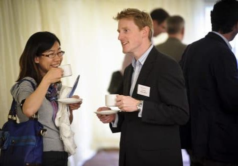 Dr James Fotheringham networking at Fellows Day