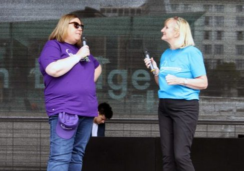 Angela speaking to CEO Sandra Currie at our Newcastle Bridges Walk event.